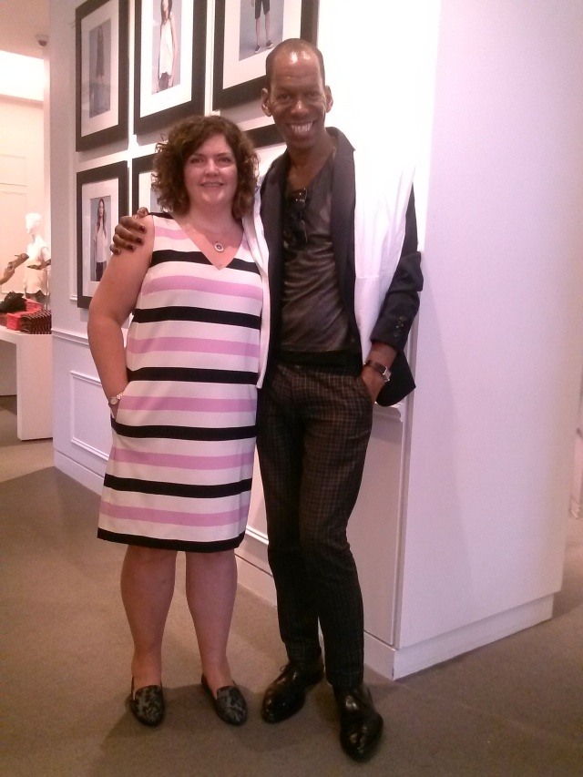 Introducing my client to JOE FRESH designer of her striped dress, loafers and my blazer